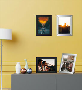 [Set of 4] Black & Silver A4 Photo Frames Styrene Front Portrait Wall Mountable