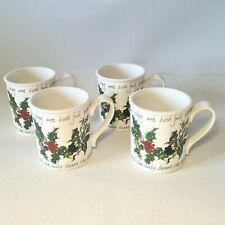 "🔅 PORTMEIRION ""the Holly & the Ivy"" 4 tasses en porcelaine, chopes, mug houx"