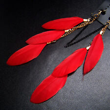 1pair Ear Ring Tassel Feather Drop Hook Stud Earrings For Elegant Women Red New