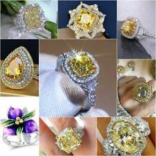 Elegant 925 Silver Citrine Gemstone Ring Women Wedding Bridal Jewelry Size 5-11