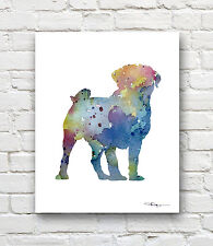 Pug Abstract Watercolor Painting Contemporary Art Print by Artist DJR