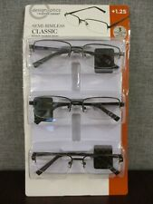 Design Optics By Foster Grant Semi-rimless Metal Reading Glasses, 3-pack +1.25