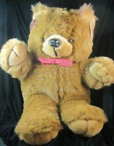 "1989 Cuddle Wit 18"" Soft Plush Brown Teddy Bear Red Bow Tie Vintage Valentine"
