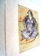 """BERTHOMME ST-ANDRE (1905-1977) Période Algérienne 1925 """"JF à la robe bleue Aquar"""