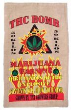 THC BOMB BURLAP BAG #23 feed bags gunny sack novelty marajuana pot leaf decor