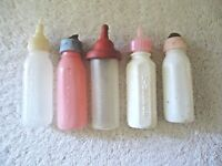 "Vintage Mixed Lot Of 5 Plastic Toy Baby Bottles "" GREAT COLLECTIBLE MIXED LOT """