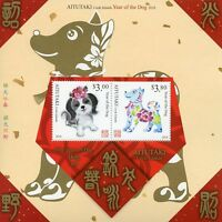 Aitutaki Cook Islands 2018 MNH Year of Dog 2v M/S Chinese Lunar New Year Stamps