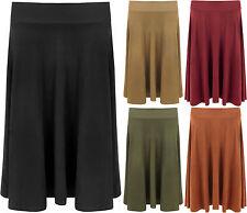 Plus Womens Long Suede Look Knee Length Stretch Skater Flared Ladies Skirt 14-28