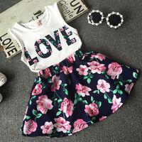 US Floral Baby Kids Girls Clothes Dress Top Tank Vest T-Shirt+Skirt Outfits Set