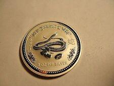 2001 AUSTRALIAN 1 DOLLAR LUNAR SNAKE 1 OUNCE .999 SILVER COLLECTIBLE COIN
