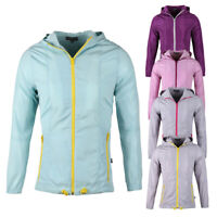 Womens Solid Hooded Lightweight Water Resistant Shell Windbreaker Outdoor Jacket