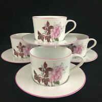 Set of 4 VTG Cups and Saucers Block Spal Watercolors Western Rose Pink Portugal