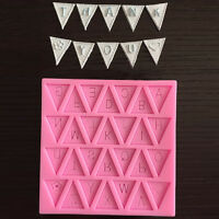 Silicone Fondant Letter Bunting Flag Mould Cake Sugarcraft Decorating Mould DIY