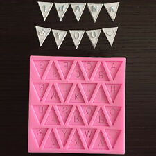 Silicone Fondant Letter Bunting Flag Mould Cake Sugarcraft Decorating Mould DIY`