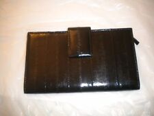 GENUINE EEL SKIN  LADIES WALLET LONG BLACK  COLOR WITH A CHANGE PURSE 7.5 X 4