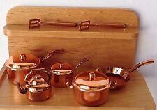 Miniature Dollhouse FAIRY GARDEN Accessories ~ 10 Piece Copper Color Pots & Pans