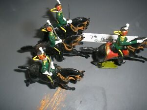 Britains ? 7th Hussars? Officer & 3 troopers , 1 with tail missing see Photos