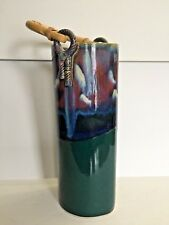 Glazed Ceramic Piece with Bamboo Handle SIGNED
