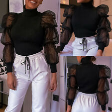 UK Womens High Neck Mesh Puff Sleeve Blouse Ladies Cocktail Party Shirts Tops