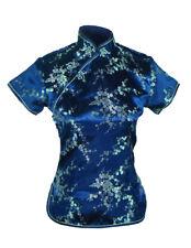 UK Stock China Chinese Blue Cherry Blossom Satin Short Sleeve Top Shirt  Blouse