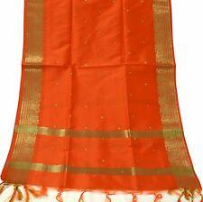 Indian Long Stole Woven Zari Brocade Art Silk Wrap Scarf Scraves Viel Orange