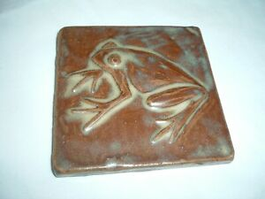 4 Ceramic Handmade Emu Tiles Kent OH Turtle Frog Butterfly Squirrel Green/Brown