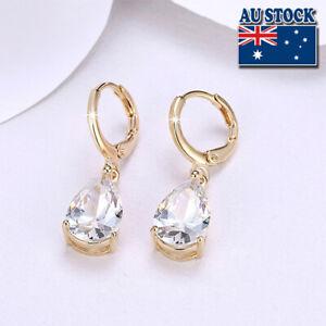 Wholesale Elegant 18K Gold Filled Clear Zircon Crystal Drop Dangle Earrings