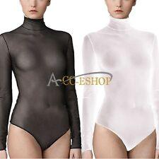 Sexy Womens Sheer Mesh Fabric Long Sleeve Body Bodice Top Bodystocking Bodysuit