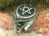 Pentagramme Chevalière Bague en Argent 925 Baphomet Celtic Viking