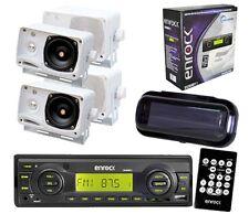 Enrock Boat Yacht 200W MMC USB AUX Media Receiver Black w/Cover & 4 Box Speakers