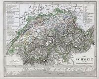 MAP ANTIQUE STIELER 1862 SWITZERLAND HISTORIC LARGE REPLICA POSTER PRINT PAM1232