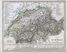 Mappa ANTICA Stieler 1862 SVIZZERA STORICA grandi REPLICA poster stampa pam1232