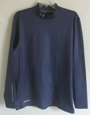 Under Armour Golf Navy Coldgear Fitted Long Sleeve Mock Neck Compression Shirt L