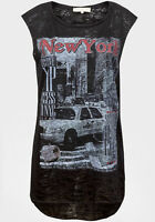 New with Tags Ladies Black New York Print Sleeveless Burnout Top Sizes 6 8 10