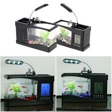 Office Home Desk Mini Aquarium Fish Tank with LED Lamp LCD Display Screen Clock