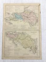 1877 Antique River Map of The Loire Valley Seine France Hand Coloured 19th C