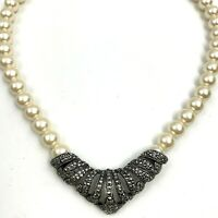 Faux Pearl Marcasite Necklace Vintage V Pendant Glam Formal Statement Beaded