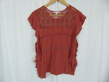 American Eagle Outfitters Women's Cap Sleeve Blouse Shirt Lace Detail Size Large