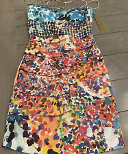 NWT Nicole Miller Size 6 Floral Watercolor Silk Tidal Pleat Dress