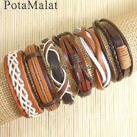 PotaMalat 6pcs Surfer Cuff Bangle Ethnic Tribal Genuine Leather Bracelets-D91