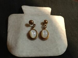 Nine Carat Gold And Moonstone Earrings