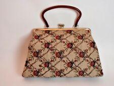 Vintage Kiss Clasp Handbag Purse Floral Tapestry Glitter Cola Lucite Handle