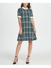 DKNY Womens Green Petal Sleeve Knee Length Fit + Flare Dress 14