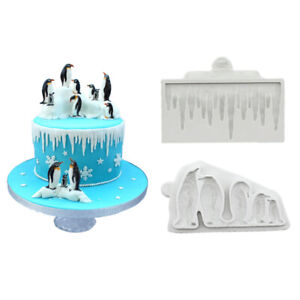Penguin Silicone Fondant Mold Cake Decorating Border Candy Chocolate Icing Mould