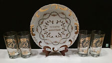 Vtg. 50th Wedding Anniv. 22kt. Gold Trimmed China Plate & 4 Glasses 1950's/60's