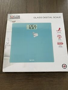 TAYLOR Blue Glass Digital Scale Brand New in Box Large LCD Screen Sleek Design