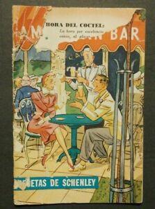 """1945 """"American Bar Recetas Schenley"""" Cuba Schenley Whisky Vintage Cocktail Book"""