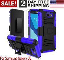 Samsung J3 Case Screen Protector Kickstand Holster Phone Belt Clip Stylus BLUE