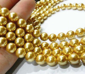 """Fine AAA Genuine 8mm Yellow Gold Shell Pearl Round Loose Beads Strand 15"""""""