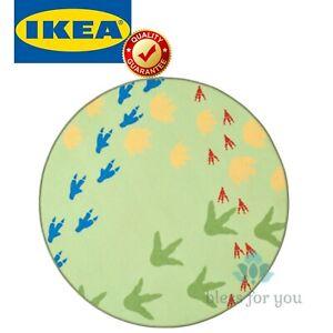 IKEA JATTELIK Children Rug Flatwoven Dinosaur Tracks Green